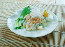 Ensaladilla Rusa. Potato Salad Recipe - Ensaladilla Rusa with salmon . closeup of a plate Royalty Free Stock Image