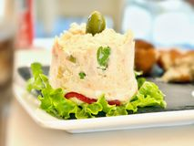 An an `ensaladilla`, a spanish potato salad on a white plate garnished with lettuce leaves. stock photos