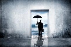 Ensam affärsman Facing Financial Depression arkivfoto
