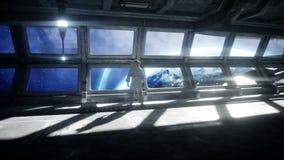 Ensam astronaut i den futuristiska utrymmekorridoren, rum sikt av jorden filmisk l?ngd i fot r?knat 4k vektor illustrationer