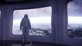 Ensam astronaut i det futuristiska rymdskeppet, rum sikt av jorden filmisk längd i fot räknat 4k royaltyfri illustrationer