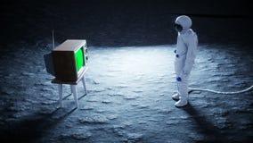 Ensam astronaut på den gamla TV:N för måneklocka Spåring av ditt innehåll Ralistic 4K animering royaltyfri illustrationer