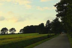 Ensam bil på vägen på skymning Arkivbild