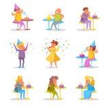 Ensam födelsedagvektor cartoon Isolerade konstfolktecken royaltyfri illustrationer