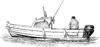 ensam fiskare Arkivfoto