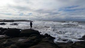 ensam fiskare Royaltyfria Bilder