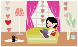 Ensam flicka med katt- och datorvektorn Royaltyfria Bilder