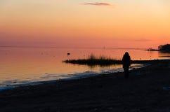 Ensam flicka som håller ögonen på solnedgången som står på stranden Arkivfoton