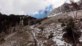 Ensam fotvandrare som trekking i Schweiz fjällängberg stock video