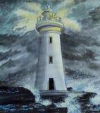 ensam fyr storm Vågor som kraschar på stenarna royaltyfri illustrationer