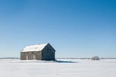 Ensam gammal ladugård i vintern Royaltyfri Fotografi