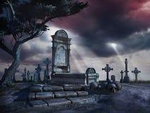 Ensam grav i den gamla kyrkogården Arkivbild