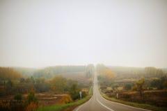 Ensam huvudväg för höst i mist Royaltyfri Bild