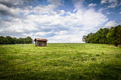 Ensam hydda på en kulle i en kohage Royaltyfri Fotografi