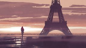 Ensam kvinna i Paris på gryning stock illustrationer