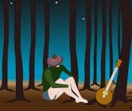 Ensam man i skogen Arkivfoton