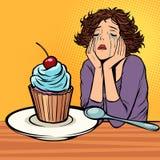 ensam olycklig kvinna Muffinefterr?tt stock illustrationer