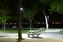 ensam park för bänk Arkivfoto