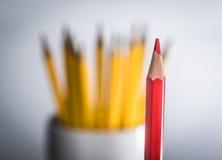 Ensam röd blyertspenna mot en grupp av gula blyertspennor Fotografering för Bildbyråer