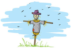 ensam scarecrow royaltyfri illustrationer