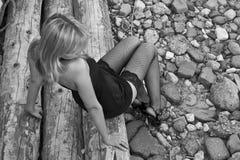 ensam sexig kvinna Fotografering för Bildbyråer