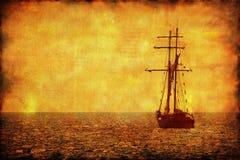 ensam ship för grungebildsegling Royaltyfri Foto