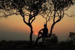 ensam solnedgång Fotografering för Bildbyråer