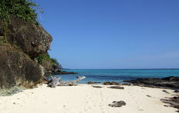 Ensam strand på Mana Island Royaltyfri Foto