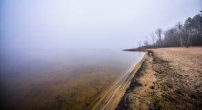 Ensam tom strand i November morgondimma Royaltyfri Bild