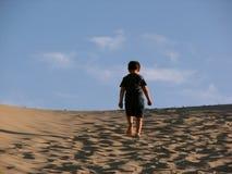 ensam trekking för pojkedyner Royaltyfria Foton