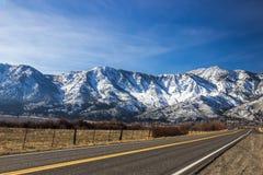 Ensam väg som leder till toppiga bergskedjan Nevada Mountains royaltyfri foto