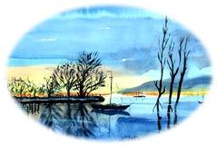 Ensam yacht på sjön I bakgrunden är små fartyg med fiskare och träd i vattnet vektor illustrationer