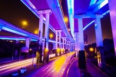 Ensambladura con la luz en Hong-Kong imagenes de archivo