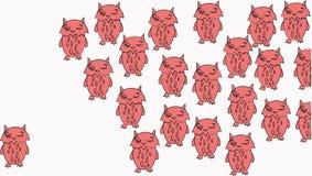Ensamhet bland rosa vit barnslig konstbakgrund för ugglor vektor illustrationer