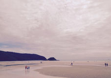 Ensamhetsepiasignal, solnedgång på stranden royaltyfri bild