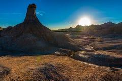 Ensamma pelarBadlands nationalpark, South Dakota arkivbilder