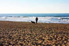 Ensamt blått hav i vinters dag royaltyfri fotografi