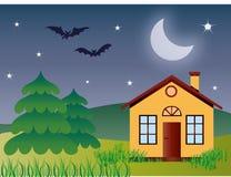 Ensamt hus i natten stock illustrationer
