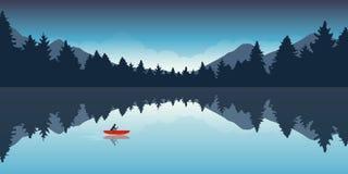 Ensamt kanota affärsföretag med rött fartygskoglandskap royaltyfri illustrationer