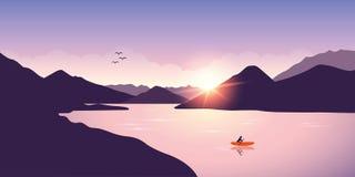 Ensamt kanota aff?rsf?retag med det orange fartyget p? soluppg?ng p? sj?n royaltyfri illustrationer