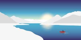 Ensamt kanota rött fartyg för affärsföretagbegrepp i ett vinterlandskap med snöig berg stock illustrationer