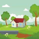 Ensamt sötsakhem, med landskaplandskapdesign stock illustrationer
