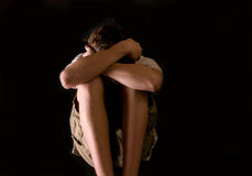 ensamt teen för rädd pojke Royaltyfria Foton
