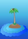 Ensamt träd på ön Arkivbild