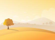 Ensamt träd på en kulle med bergbakgrund i solnedgångsikt Skönhethöstfält och ett trädlandskap stock illustrationer