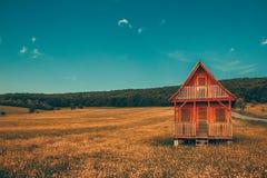 Ensamt trähus för fantastiskt landskap i bergen/kullarna med skogen i bakgrundsängkulle med gula husfärggradi royaltyfria bilder