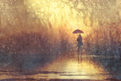 Ensamt womaan med paraplyet i sjön royaltyfri illustrationer