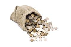 Ensaque com moedas Fotos de Stock