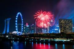 2017-07-15 ensayo de la exhibición de los fuegos artificiales del día nacional de Singapur Foto de archivo