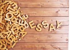 Ensayo de la palabra hecho con las letras de madera Fotografía de archivo libre de regalías